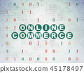 Business concept: Online Commerce on Digital Data Paper background 45178497