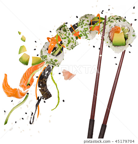 Pieces of delicious japanese sushi frozen in the air. 45179704