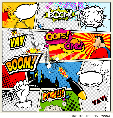 Comic book page divided by lines with speech bubbles, rocket, superhero and sounds effect. Retro 45179908