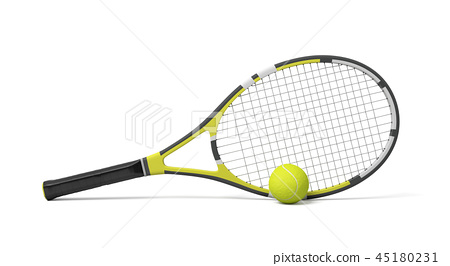 3d rendering a single tennis racquet lying with a yellow ball on white background. 45180231