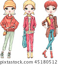Set fashion girl in autumn clothes 45180512