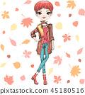 Vector fashion girl in autumn clothes 45180516