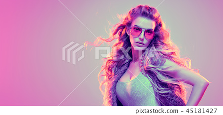 High Fashion neon light. Sexy Girl, Hairstyle 45181427