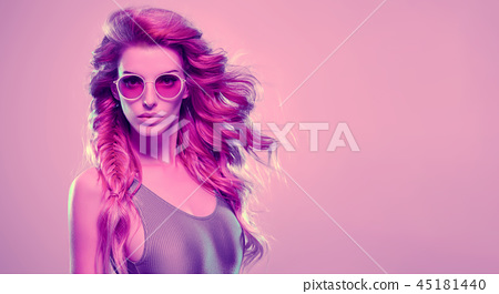 High Fashion neon light. Sexy Girl, Hairstyle 45181440