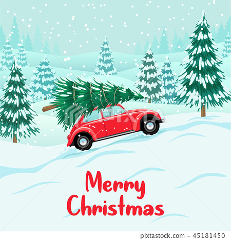 Red auto with christmas tree on roof, delivery 45181450