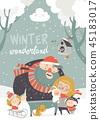family, winter, vector 45183017