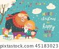 family, winter, vector 45183023