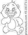 outlined running teddy bear 45183731