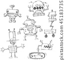Robot doodles isolated 45183735