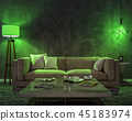 Night interior with green colored lights 45183974