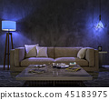 Night interior with blue colored lights 45183975
