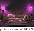Night interior with purple colored lights 45183976