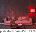 Night interior with red colored lights 45183978