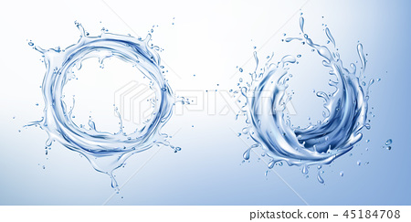 Vector 3d realistic set with blue water splashes 45184708