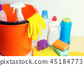 Cleaners on an isolated white background 45184773