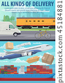 Mail delivery by air plane, ship or train 45184881