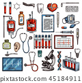 Medicine equipment and tools, vector sketch 45184911