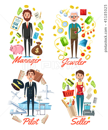 Manager, jeweler pilot and seller profession 45185025