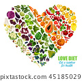 Vegetables and fruits color detox dieting 45185029
