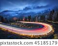 blurred headlight dusk 45185179