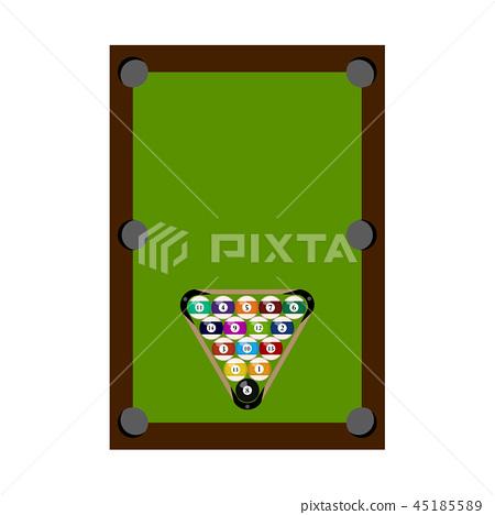 Billiard pool with balls 45185589