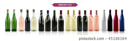 A large set of photo-realistic wine bottles 45186164