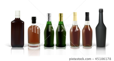 Set of photo-realistic whiskey, cognac and scotch bottles 45186178