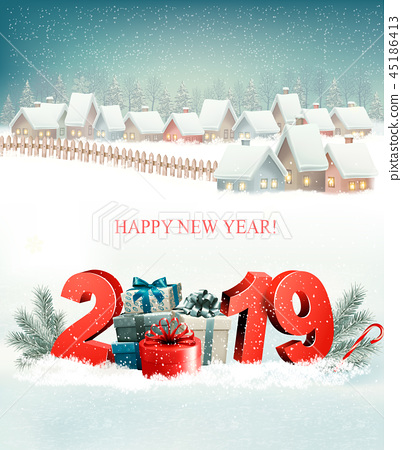 Holiday Christmas Background with 2019 and village 45186413