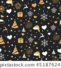 Christmas with element icons seamless pattern 45187624