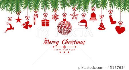 Christmas background with Christmas res balls 45187634