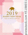 new year's card, sign of the hog, twelfth sign of the chinese zodiac 45188031