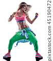 woman cardio dancers dancing fitness exercising excercises isolat 45190472