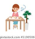 Female illustration eating alone 45190506