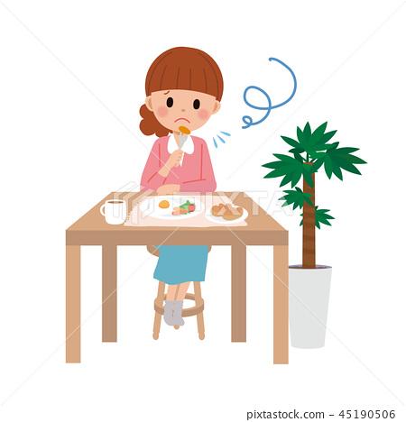 혼자 식사를하는 여자 일러스트 45190506