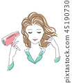 一个女人戴着吹风机 45190730