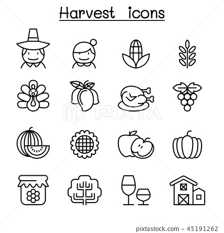 Harvest & Thanksgiving icon set in thin line style 45191262