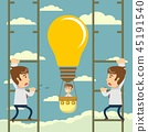 Man flying on idea balloon. Business boost concept, startup. 45191540