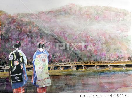 Arashiyama sketch Kyoto sightseeing spring Maiko Togetsubashi Maiko 45194579