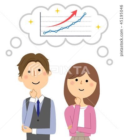 한쪽으로 치우친 그래프를 상상하는 젊은 부부 45195046