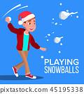 Child Boy In Santa Hat Playing Snowballs Vector. Illustration 45195338