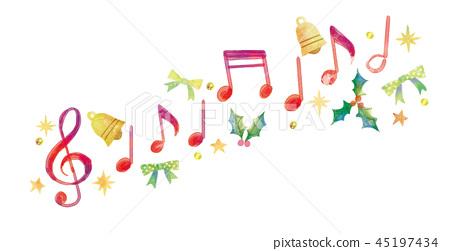 โน้ตเพลง,พื้นหลังสีขาว,คริสต์มาส 45197434