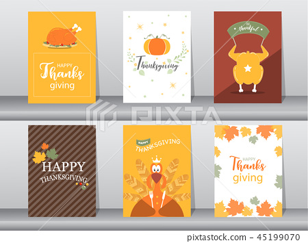 Set of Happy thanksgiving day card, design,poster 45199070