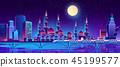Vector night city background with muslim mosque 45199577