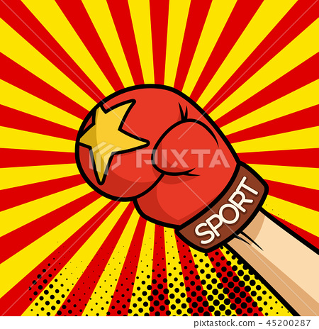Comic book fist illustration of punching glove. Vector sport illustration. 45200287