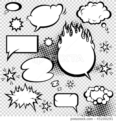 Comic style speech bubbles collection. Funny design vector items illustration 45200291