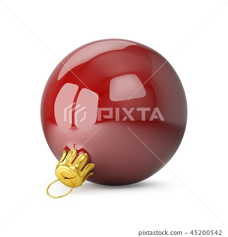 3D rendering Red Christmas Ball isolated on white 45200542