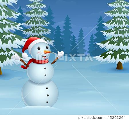 Cartoon christmas snowman with snowy pine trees 45201264
