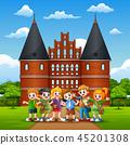 School Children standing in front of Holstentor 45201308
