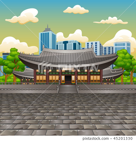 Deoksugung Palace with tall building background 45201330