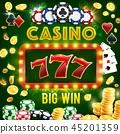 Poker club, roulette wheel, casino gambling 45201359